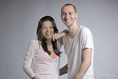 Teens laughing together
