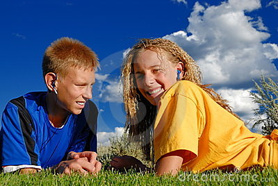 Teens listening to music