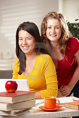 Free Teens Looking At Laptop Stock Image - 12934671