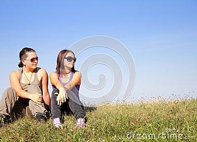 Teens looking somewhere