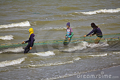 Teens Net Fishing Editorial Stock Photo