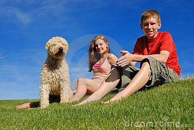 Teens with pet