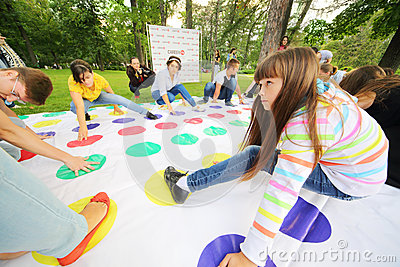 Teens play game at International Festival of Cultures Editorial Photography