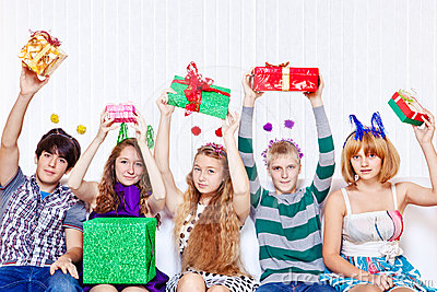 Teens with presents