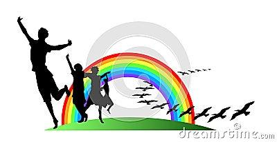 Teens with rainbow