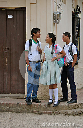 Teens in School Uniform, Colombia Editorial Image