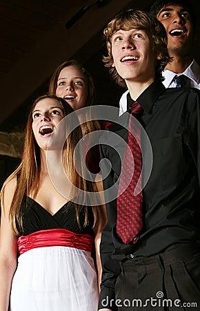 Teens singing
