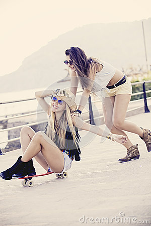 Teens and skateboard