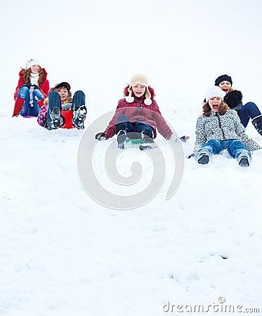 Teens sleighing