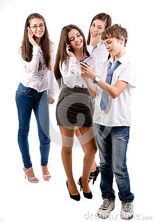 Teens using mobile phones