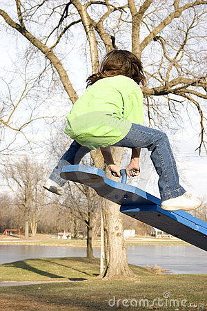 Teeter totter bounce Stock Photo