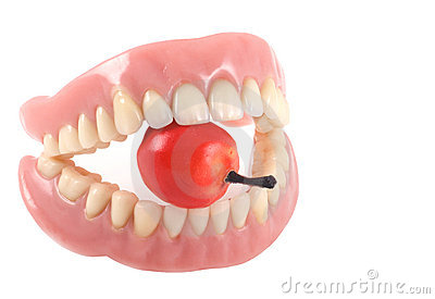 Teeth and apple.