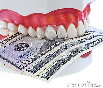 Teeth and dollar