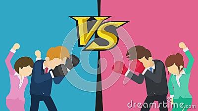 Tegenover het scherm Zakenmanslag die bokshandschoenen dragen Blauw versus Rood Dame die met hun omhoog handen toejuichen vector illustratie
