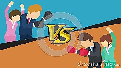 Tegenover het scherm Zakenmanslag die bokshandschoenen dragen Blauw versus Sinaasappel Dame die met hun omhoog handen toejuichen stock illustratie