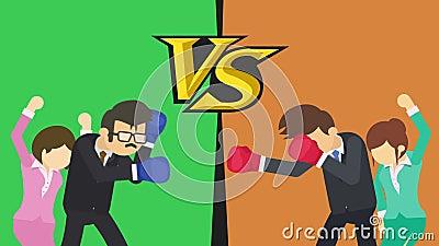 Tegenover het scherm Zakenmanslag die bokshandschoenen dragen Groen versus Sinaasappel Dame die met hun omhoog handen toejuichen royalty-vrije illustratie