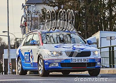 Teknisk bil av laget för FDJ Procycling Redaktionell Fotografering för Bildbyråer