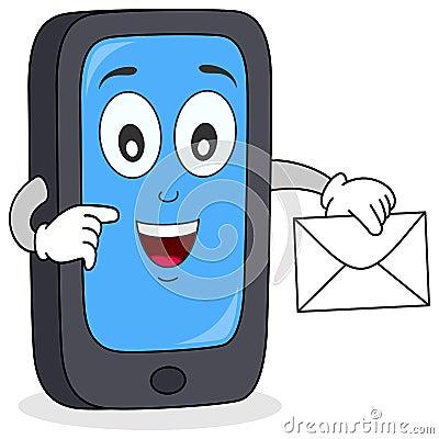 Teléfono celular con el carácter del correo