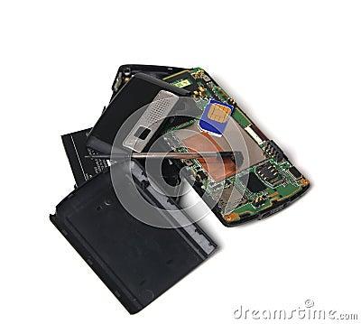 Teléfono celular quebrado