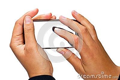 Teléfono elegante con la visualización en blanco