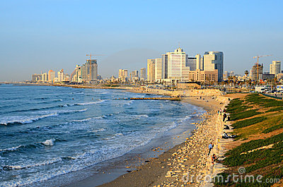 Tel Aviv Beachfront Editorial Stock Photo