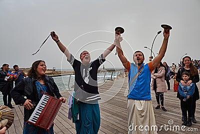 Tel Aviv - 20 February 2017: Hare Krishna devotees celebrating d Editorial Stock Photo