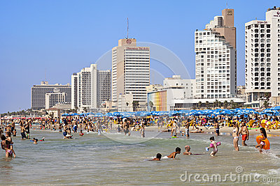 Summer at the Beach in Tel-Aviv Editorial Stock Image