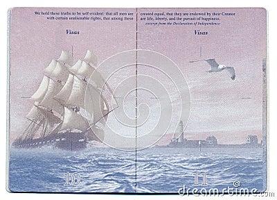 USA Passport Blank Page Editorial Stock Image