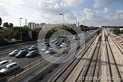 Rusningstidjärnväg Redaktionell Arkivfoto