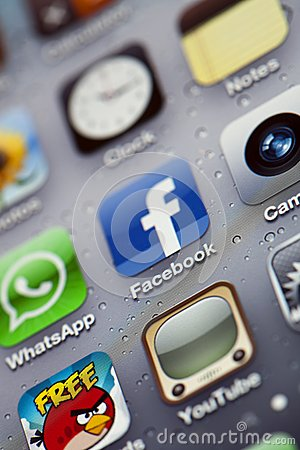 IPhone 4 - Apps Macro Editorial Stock Photo