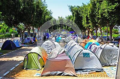 Tel Aviv Tent Demonstration Editorial Stock Image