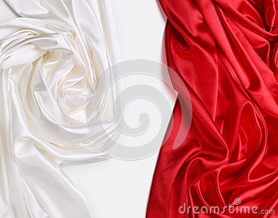 Tela de seda vermelha e branca