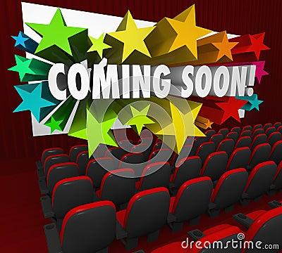 Tela do teatro de filme que vem logo atração nova do reboque da estreia