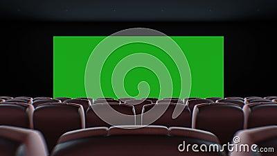 Tela panorâmico no cinema Hall Moving Through Over as cadeiras Animação 3d bonita com luzes, a tela verde e o seguimento filme