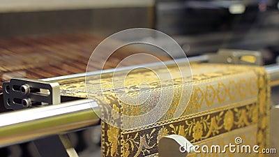 Telaio nell'azione Strumento di tessitura producendo materiale stock footage
