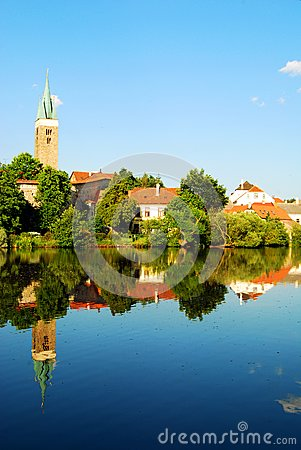 Telc Tower and Houses Mirror Reflection