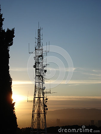Telecommunication antenna at sunset