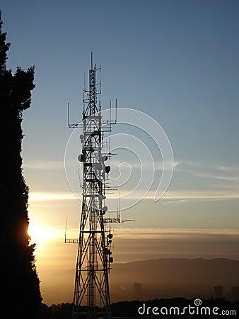 Telecommunication antenna at sunset