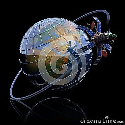 Telecommunication satellite around Earth