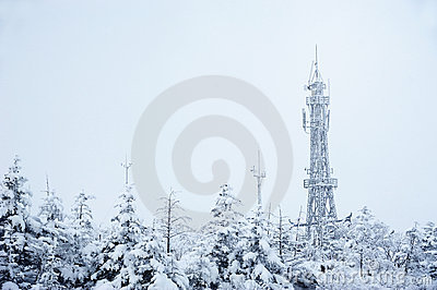 Telecommunication tower in winter