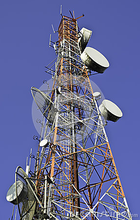 Free Telecommunication Towers Against Blue Sky Stock Image - 40508431