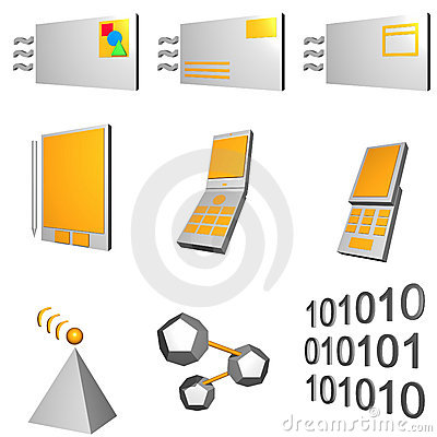 Telecommunications Mobile Industry Icons Set