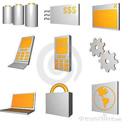Telecommunications Mobile Industry Icons Set - Gra