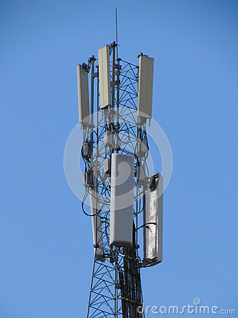 Telecommunications tower. Mobile phone base station.