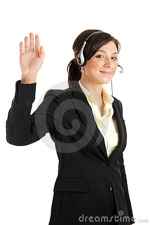 Telecommunications woman with her hand raised