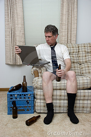 Telecommuting Work From Home Man Working Remotely