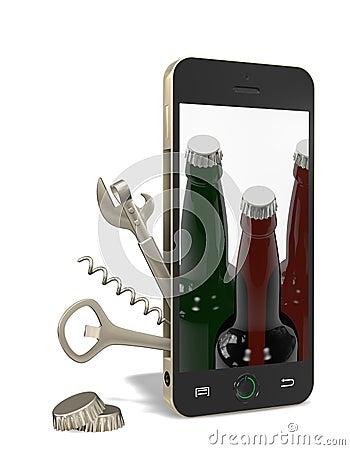 Telefon z otwieraczem i corkscrew