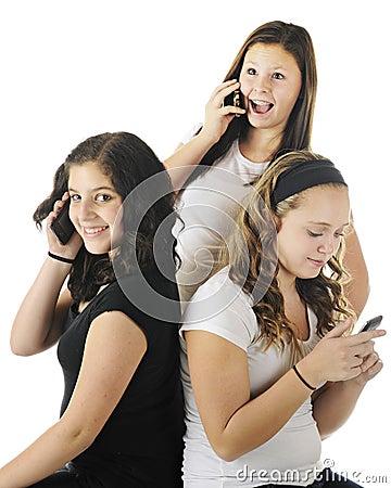 Telefonar dos jovens adolescentes