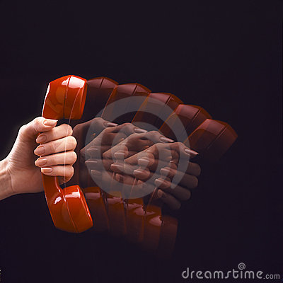 Telefono rosso nel movimento