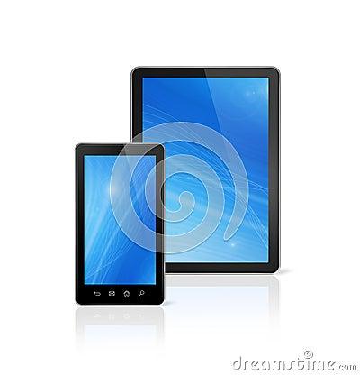 Telemóvel e PC digital da tabuleta